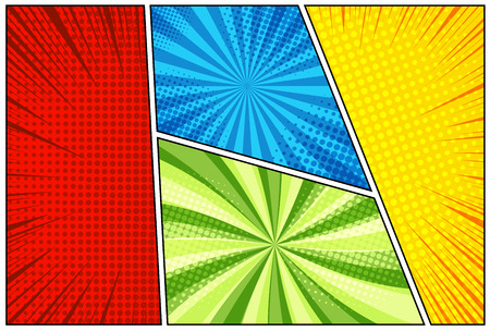 Comic book background with halftone rays dotted and radial effects in yellow red blue green colors in pop-art style. Vector illustration Illusztráció