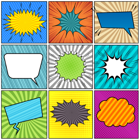 Comic book background with colorful scenes colorful speech bubbles sound halftone rays striped and radial effects in pop-art style. Vector illustration
