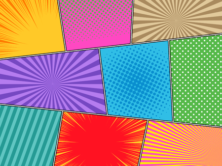 Comic book horizontal background with halftone rays dotted radial striped effects in bright different colors in pop-art style. Vector illustration