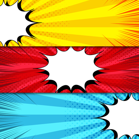 Comic book horizontal banners with white speech bubbles and halftone rays radial dotted effects in yellow, red, blue colors. Vector illustration