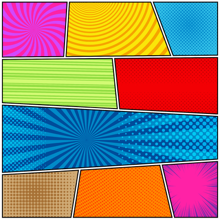 Comic book page background with halftone rays dotted radial circles striped effects in bright colors in pop-art style. Vector illustration Illustration