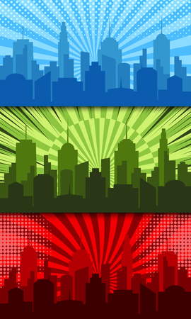 Comic bright horizontal banners with cityscapes radial dotted and rays humor effects in blue green red colors.