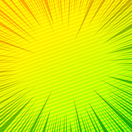 Comic book page blank template with slanted lines and rays effects in yellow and green colors. Vector illustration Ilustração