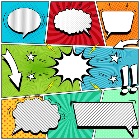 Comic book page background with white speech bubbles arrows stars exclamation points lightnings sound halftone rays dotted striped and radial effects in pop-art style. Vector illustration Stock Illustratie