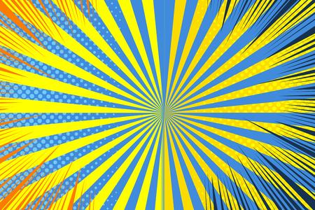 Plantilla de página cómica con efectos de humor radiales medios tonos radiales en colores amarillo y azul. Ilustración vectorial