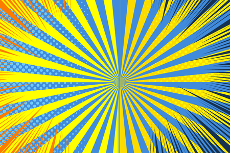 Comic page template with rays radial halftone humor effects in yellow and blue colors. Vector illustration