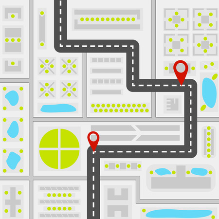 Abstract city map concept with road red navigation pins water places different buildings and green areas. Top view template. Vector illustration