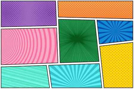 Comic book squares in different colors in pop-art style. Vector illustration