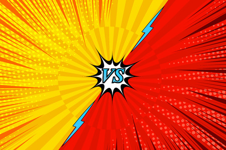 Comic fighting bright background with yellow and red sides, lightning, radial, halftone and rays humor effects. Vector illustration