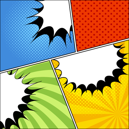 Comic book page composition with blank white speech bubbles halftone dotted and radial effects. Stock fotó - 96748387