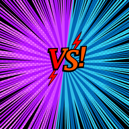 Comic versus fighting background with two opposite purple and blue sides, arrows, halftone rays and radial effects. Vector illustration