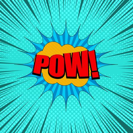赤いパウの言葉を使ったオレンジと青のスピーチバブルが点在し、ターコイズの背景にユーモアの効果を与えるコミックページコンセプト。ベクト