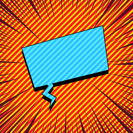 Comic explosive template with blue rectangular speech bubble slanted lines and rays effects. Vector illustration Illustration