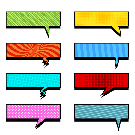 Comic colorful rectangular speech bubbles collection with slanted lines radial grid and dotted effects. Vector illustration