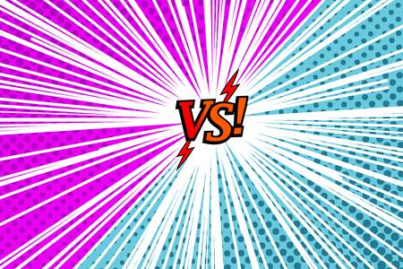 Plantilla cómica versus rivalidad con dos lados opuestos, efectos de rayos, medios tonos y rayos en colores morado y azul. Ilustración vectorial