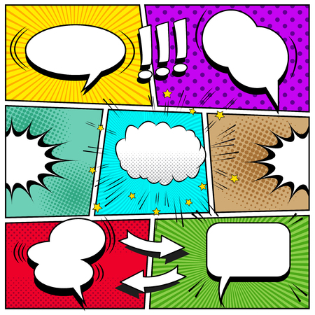 Comic book page background with white speech bubbles arrows exclamation points sound halftone rays dotted and radial effects in pop-art style. Vector illustration. Vettoriali