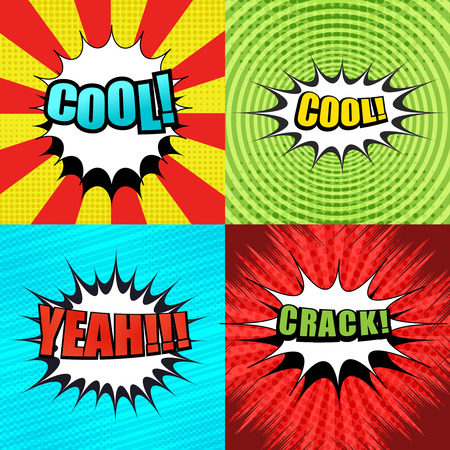 Comic book pages set with colorful cool, yeah, crack wordings, white speech bubbles, stripes, circle, rays, radial, halftone and dotted effects. Pop-art style. Vector illustration.