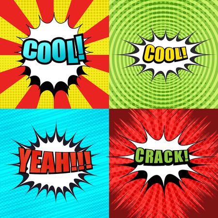 Pages de bandes dessinées avec des couleurs colorées, oui, des fissures, des bulles blanches, des rayures, des cercles, des rayons, des effets radiaux, en demi-teintes et en pointillés. Style pop-art. Illustration vectorielle. Vecteurs