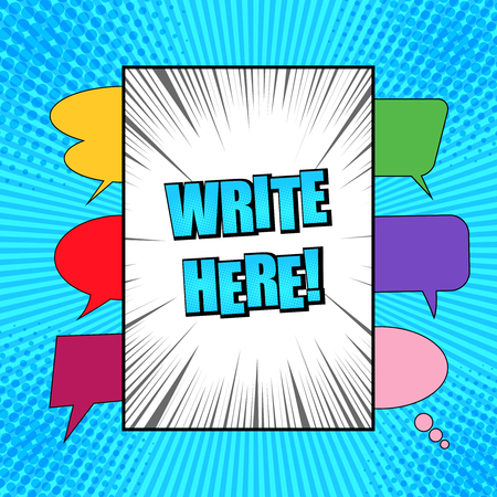 Comic bright concept with white frame for text, colorful speech bubbles dotted halftone and rays humor effects on blue radial background. Vector illustration. Illusztráció