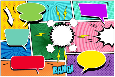 Comic book page template with white colorful bubble,s arrow, lightnings sound, halftone rays dotted stripes circles and radial effects in pop-art style. Vector illustration. Ilustração