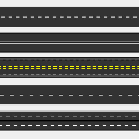 Asphalt roads collection with horizontal straight highways and speedways. Vector illustration.