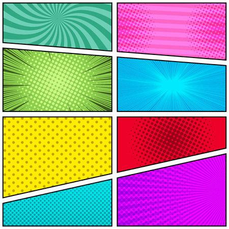 Comic book page bright template with radial rays stripes and dotted humor effects in different colors. Vector illustration.