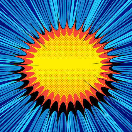 Comic explosive light template with colorful blots halftone and rays humor effects on blue radial background. Vector illustration.