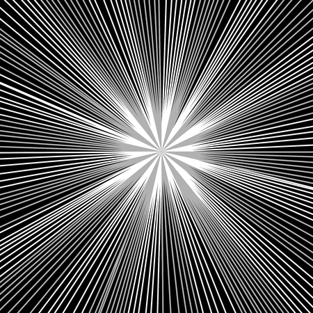 Comic page monochrome template with black rays and radial humor effects. Vector illustration. Illustration