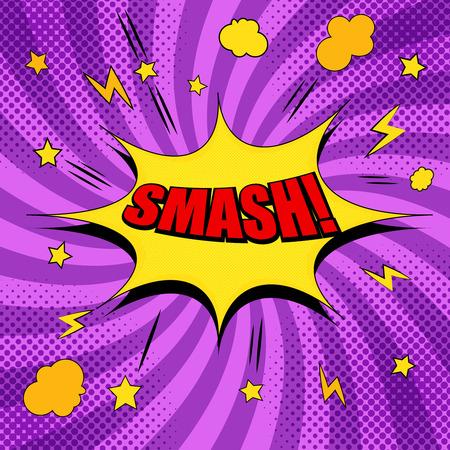 黄色のスピーチバブル、星、雲、稲妻、音、ハーフトーンと紫色の背景ベクトルのイラストに放射状の効果を持つコミック赤スマッシュ文言テンプ  イラスト・ベクター素材