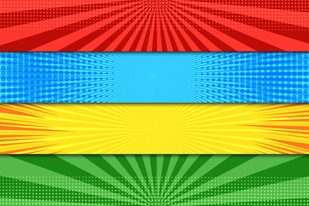 Comic book colorful horizontal banners with halftone rays dotted radial effects in blue red green yellow colors. Vector illustration