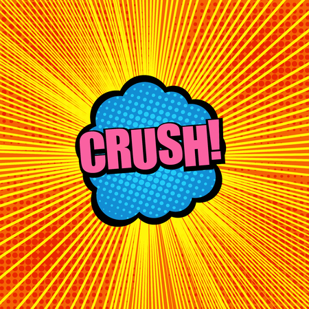 Comic explosive template with Crush wording on a blue and black speech bubble