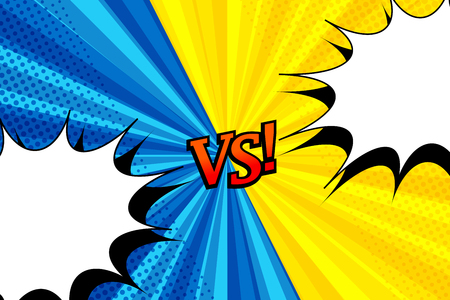Comic versus horizontal background with two opposite yellow and blue sides. Illustration