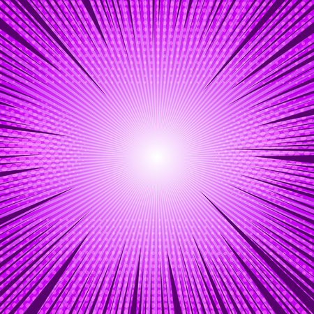 Comic purple light blank background with rays radial and halftone effects. Vector illustration