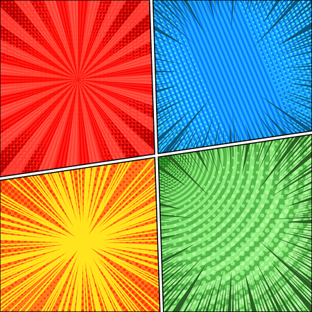 Comic book four colorful scenes set with rays, circle, radial, stripe and halftone effects in blue, red, yellow, green colors. Vector illustration