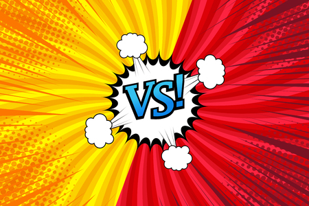 Comic versus bright template with two opposite sides, speech bubble, clouds, rays and radial effects on yellow and red background. Vector illustration Illustration