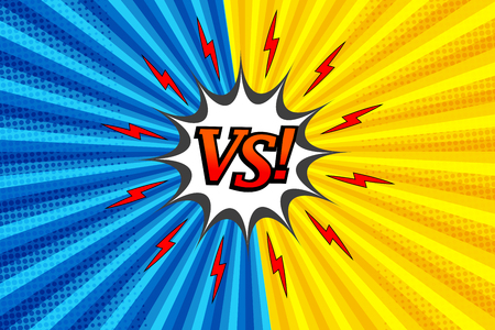 Comic versus colorful fight background with two opposite yellow and blue sides, red lightnings, white speech bubble, halftone and radial effects. Vector illustration Ilustracja