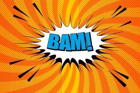 Orange background with blue Bam inscription in white speech bubble Illustration