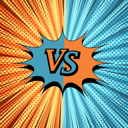 Comic VS creative background with two opposite sides, speech bubble, halftone, rays and radial humor effects. Vector illustration Illustration