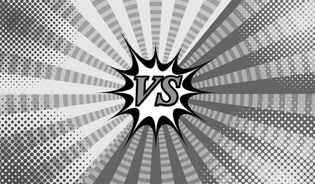 Comic versus gray horizontal background with two sides, speech bubble, halftone, circles and radial effects in monochrome style. Vector illustration Illustration