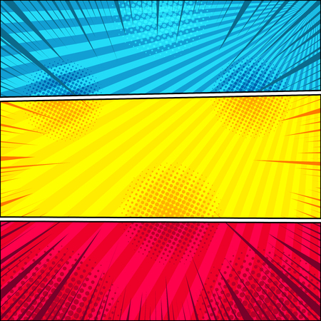 Comic bright horizontal banners with radial halftone and rays Illusztráció