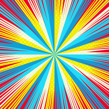 Comic book colorful background with red rays yellow halftone and blue radial humor effects. Vector illustration Illustration