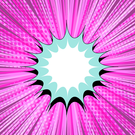 Comic book pink background with colorful blank speech bubble, rays, halftone and radial effects. Vector illustration