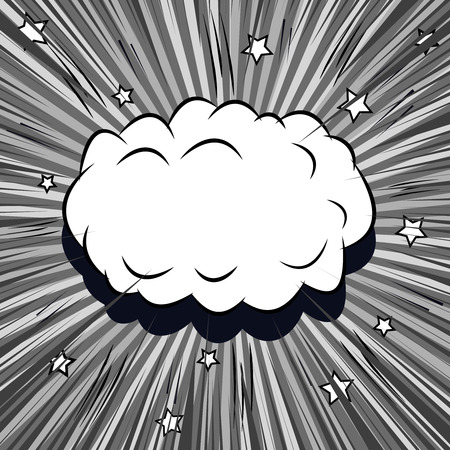 Comic book monochrome template with white blank speech bubble, rays, sound, stars and radial effects in gray colors. Vector illustration Stock Illustratie