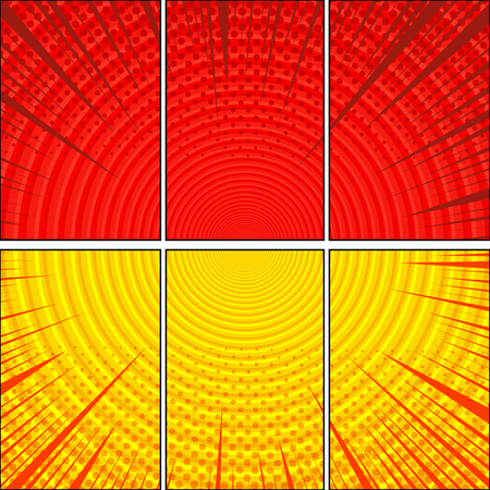 Comic bright duel composition with circles rays halftone humor effects in yellow and red colors. Vector illustration Illustration