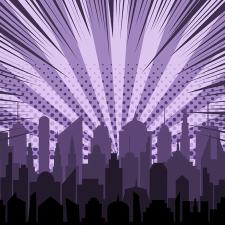 Comic night city silhouette template with cityscape halftone rays and radial humor effects in purple colors. Vector illustration