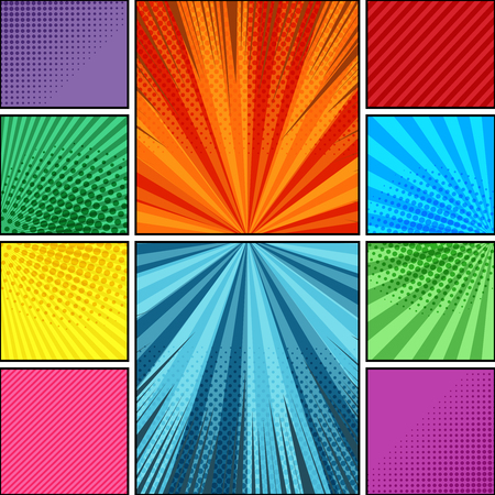 Comic book page background with radial dotted rays and slanted lines humor effects in bright colors. Vector illustration
