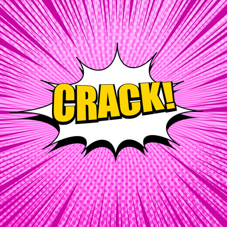 Comic book pink template with yellow Crack inscription white speech cloud rays and halftone on radial background. Vector illustration Çizim