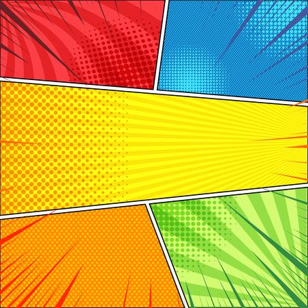 Concetto di pagina di fumetti con effetti di linee oblique a raggi radiali mezzitoni nei colori rosso blu giallo arancio verde. Illustrazione vettoriale