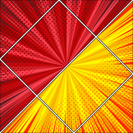 Comic diagonal light background with opposite rectangle shapes radial rays halftone humor effects in yellow and red colors. Vector illustration Illustration