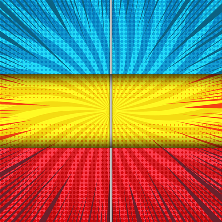 Comic explosive bright composition with blue yellow red frames radial rays and halftone humor effects. Vector illustration